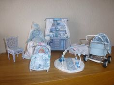 DOLLS HOUSE MINIATURE OOaK Baby and  7 Piece Peter Rabbit Nursery Set