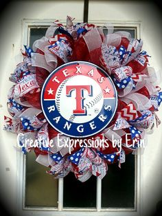 Check out this item in my Etsy shop https://www.etsy.com/listing/228095831/texas-rangers-wreath