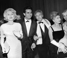 Marlene Dietrich with Gilbert Becaud and Jean Cocteau after the premiere of his L'Opera d'Aran. 1962