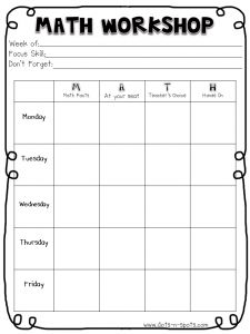 Math Workshop plan page