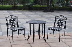 3-Piece Bistro Set Round Table 2 Chairs Black Distressed Finish Pool Garden Home