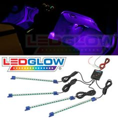 LEDGlow Purple LED Car Interior Underdash Lighting Kit - Universal Fitment - Music Mode - Auto Illumination Bypass Mode - Automotive Parts and Accessories - Frequently updated comprehensive online shopping catalogs Mustang Accessories, Truck Accessories, Interior Accessories, Future Trucks, Future Car, Jeep Seats, Jeep Baby, Girly Car, Car Goals