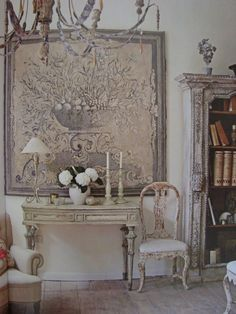 Dream in cream-blog. French country deocor off white distressed with vintage tapestry