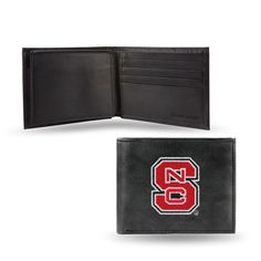 A delicious new twist on a classic style wallet! Genuine leather plus the addition of embroidered NC State Wolfpack logo create this one of a kind billfold. On the interior of this men's wallet you'll