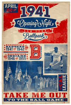 Cool commemorative baseball poster announcing the opening of the Sam Lynn Ballpark on April 22nd 1941 with the Bakersfield Badgers as the home team.