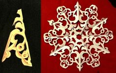 Paper snowflake patterns and other diy Christmas decorations.
