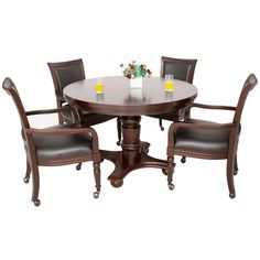Features:  -Dining table surface quickly turns into a felt-lined game table surface with an easy flip of the tabletop.  -Soft, padded chair cushions upholstered in a durable black vinyl.  -Table inclu