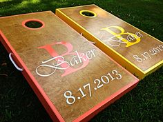 Real Birch Stained Custom Personalized Cornhole Board Sets
