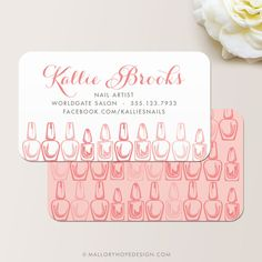 Nail Artist Business Card or Nail Salon Business Card / Calling Card / Mommy Card © MalloryHopeDesign.com
