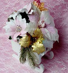 Christmas Sleigh Shabby Chic Floral Arrangement Centerpiece Pink Poinsettia OOAK #MyChicFrenchCottage