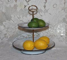 Vintage Enamelware plate tidbit tiered tray metal by prettydish