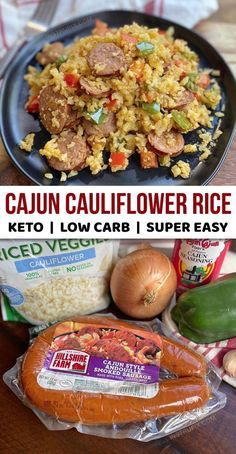 Easy Cajun Cauliflower Rice (My New Favorite Low Carb Dinner Recipe) Instrupix instrupix Keto & Low Carb Recipes Looking for easy and healthy keto dinner recipes for beginners? This cauliflower rice is quick, easy and made wi Low Carb Dinner Recipes, Keto Dinner, Lunch Recipes, Diet Recipes, Vegetarian Recipes, Dinner Healthy, Party Recipes, Healthy Low Carb Meals, Easy Low Carb Meals