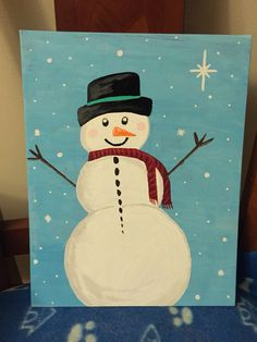 Snowman painted on canvas free hand.