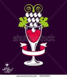 Winery theme vector illustration. Stylized wineglass with grapes vine, racemation symbol best for use in advertising and graphic design.