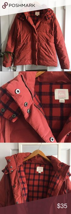 Quicksilver dusty red down coat, flannel lined, M This is technically a men's winter coat but I wore it and it works for both males and females. Size Medium. Fits like a women's size 10. It is a dusty red/maroon color. The flannel lining is red and navy. Very warm and comfortable and in great condition. Very rarely worn. Filling: 50% down 50% polyester. Quicksilver Jackets & Coats Puffers