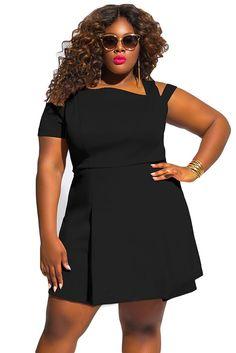 1712403ffd5c7 Plus Size Cold Shoulder Black Skater Dress Plus Size Womens Clothing