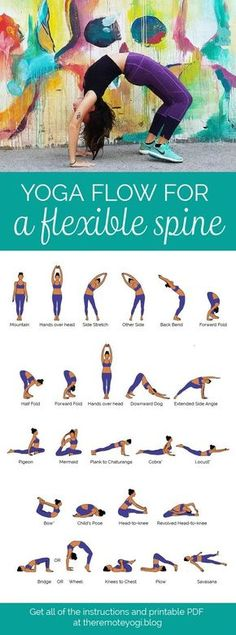 Yoga Flow for a Flexible, Bendy Spine - FREE PDF Print out this yoga flow and do it at home to promote a healthy spine and increase mobility. This one is challenging and sure to get the body fired up! pilates Yoga Flow for a Bendy Spine - FREE PDF Fitness Workouts, Yoga Fitness, Video Fitness, Health Fitness, Fitness Tips, Yoga Beginners, Beginner Yoga, Yoga For Beginners Flexibility, Stretching For Flexibility