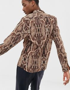 22cc5904c46c ASOS DESIGN | ASOS DESIGN regular fit snakeskin printed shirt Snake Print,  Menswear, Polo