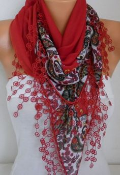 Red Paisley Scarf Cotton Scarf Oversize Scarf Necklace by fatwoman