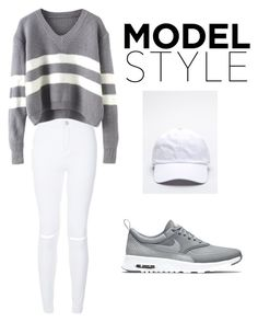 """gray & white"" by reinee ❤ liked on Polyvore featuring NIKE, women's clothing, women, female, woman, misses and juniors"