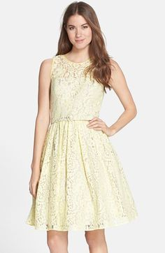 bb0d4c762f Eliza J Belted Lace Fit  amp  Flare Dress available at  Nordstrom Eliza J  Dresses