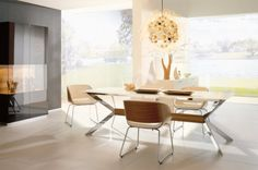 Wonderful Dining Room Design Ideas by Huelsta, Dining Room, Modern Beige White Dining Chairs and Table with Elegant Black Cabinet and Cool Chandelier White Dining Chairs, Modern Dining Table, Dining Room Chairs, Dining Room Lighting, Dining Room Furniture, Small Dining, Dining Room Sets, Dining Room Design, Minimalist Dining Room