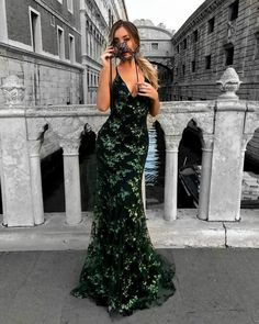 Green Sequined Lace Spaghetti Strap Long Evening Dress,V-neck Prom Dress,Mermaid Prom Dresses 2018 Cheap Prom Gowns This dress could be custom made, there are no extra cost to do custom size and color. Description 1, Processing time: 20 business days Shipping Time: 7-10 business days ...