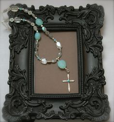 Blue Chalcedony Necklace Rosary Necklace by AmbientAtelier on Etsy