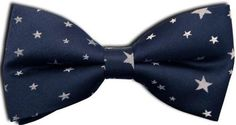 100% Silk Handmade Pre-Tied Bow Tie - Navy Blue With White Stars