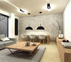 Aranżacja salonu z jadalnią wystrój nowoczesny, minimalistyczny w kolorach biel…