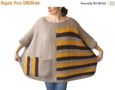 50% CLEARENCE Plus Size  Over Size Sweater Beige Brown от afra