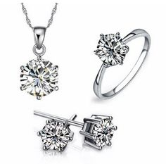 fashion jewelry set on sale at reasonable prices, buy For Women White Silver Necklace/Earring/Ring Jewelry Sets With Austrian Crystals Fashion Wedding Jewelry 3 Pcs/Set from mobile site on Aliexpress Now! Engagement Sets, Engagement Jewelry, Crystal Fashion, Bridal Earrings, Rhinestone Necklace, Ring Earrings, Silver Earrings, White Necklace, Stud Earring