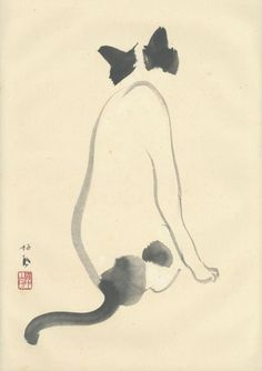 Cat | sumi-e painting | by Takeuchi Seiho