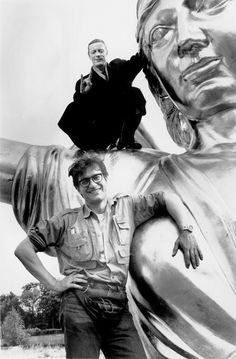 Otto Sander and Wim Wenders on the set of Faraway, So Close! (1993).