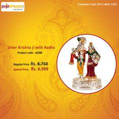 Silver Krishna ji with Radha   product code - a0288   Special price Rs 6,999   #Krishna #Corporategift #Pujashoppe
