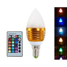 Luces LED en Vela Decorativa / Regulable / Control Remoto 无 C35 E14 5W 3 LED Integrado 400 LM RGB AC 85-265 V 1 pieza 4443255 2016 – €7.99 Luz Led, 5 W, Control, Bulbs, Candles, Lights