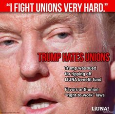 Trump is Against Working Americans!! Likes Cheap, Undocumented, Non Union Workers. $7.50 hour is the Limit!!!