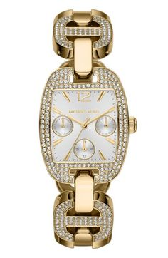 Michael Kors 'Emma' Pavé Crystal Bracelet Watch, 38mm x 29mm available at #Nordstrom