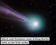 provocative-planet-pics-please.tumblr.com Gleich zwei Kometen rasen Anfang Woche nahe an der Erde vorbei So nah kam kein Komet seit 246 Jahren: Am Montag und Dienstag fliegen gleich zwei Schweifsterne knapp am blauen Planeten vorbei. Womöglich ziehen sie einen Sternschnuppenregen nach sich. Nur 1770 und 1366 flogen nach Angaben von Nasa-Astronom Eddie Irizarry Kometen noch knapper vorbei: Im Juli 1770 passierte Rekordhalter Komet Lexell in sechsfacher Mondentfernung 1366 war es dem Forscher…