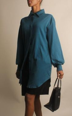 Stretch Cotton Long Sleeve Teal Dress with Pockets Work Blouse, Blouse Dress, Work Shirts, Button Up Shirts, Lace Camisole, Button Up Dress, Dress Shirts For Women, Teal, Dresses For Work
