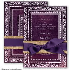 It's no mystery how you fell in love. And, you'll simply fall in love with this stylish two-sided wedding invitation. #davidsbridal #invitations #weddings #purpleweddings