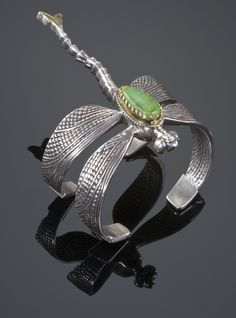 Sterling silver dragonfly bracelet set with gaspeite  by Cody Sanderson