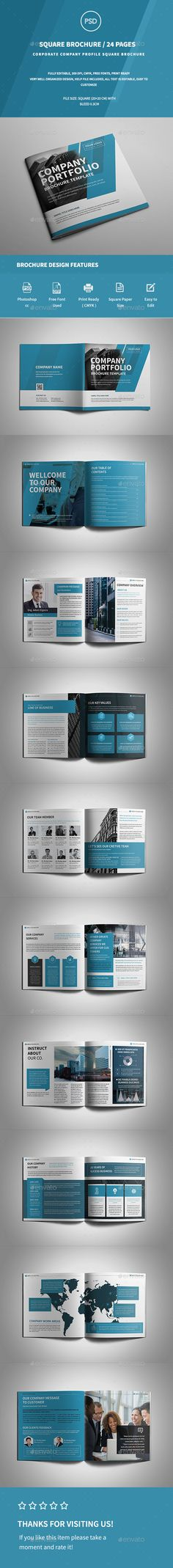 Square Company Profile Brochure — Photoshop PSD #clean #stylish • Download ➝ https://graphicriver.net/item/square-company-profile-brochure/19470078?ref=pxcr