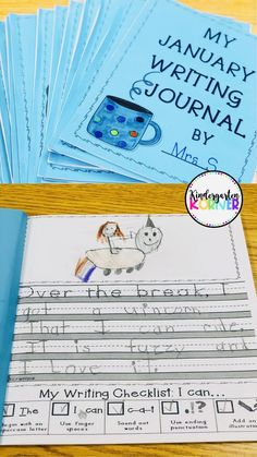 Looking for NO PREP Writing for after Winter Break? Writing Workshop for the entire month of January is complete with these journals for kindergarten or first grade! Package features custom journal paper with writer's writing formats.Check them out! Writing Binder, Writing Checklist, Journal Writing Prompts, 1st Grade Writing Prompts, Writing Rubrics, Writing Topics, Paragraph Writing, Kindergarten Journals, Kindergarten Literacy