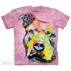 Pink t-shirt with bright pop art Pit Bull design. FREE UK DELIVERY