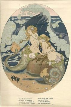 All Things Esoteric /Occult/Witchcraft and a Healthy Dose of Rock and Roll/Art Nouveau/Illustration/Vintage & Literary Erotica & Underground Countercultures + David Bowie is My Religion: I'm Just a Space Cadet. Alphonse Mucha, Mermaid Illustration, Illustration Art, Vintage Illustrations, Mermaid Fairy, Vintage Mermaid, Mermaids And Mermen, Merfolk, Klimt