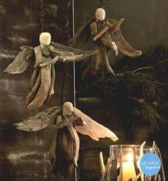 Spare and Simple, Roost's recreation of an age old story is transformed into a work of art with a primitive edge.Add a natural element to your seasonal decorations with our driftwood tree topper, angel and hurricanes.