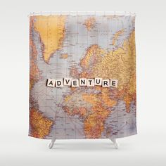 adventure map #ShowerCurtain by Sylvia Cook Photography - $68.00  #map #typography #adventure #travel #world