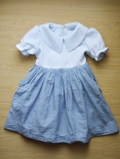 Paper white and baby blue stripped dress