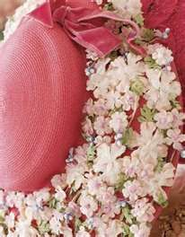Beautiful pink floral decorated hat